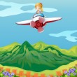 Royalty-Free Stock Vector Image: A girl flying on a plane