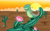 A lizard and the cactus plants — Stock Vector