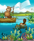 Beavers in the river — Stock Vector
