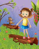 A girl and a beaver in the jungle — Stock Vector