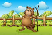 A beaver holding a stick — Stock Vector