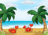 Crabs in the seashore — Stock Vector