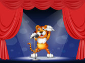 A tiger at the center of the stage — Stock Vector