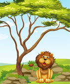 A lion sitting under a big tree — Stock Vector