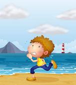 A young man jogging along the beach — Stock Vector