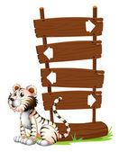 A tiger beside a signboard — Stock Vector