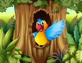 Un pájaro en el hueco de un árbol — Vector de stock
