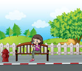 A smiling girl sitting on a bench — Stock Vector