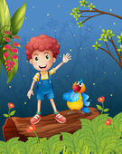 A boy and a parrot in the woods — Stock Vector