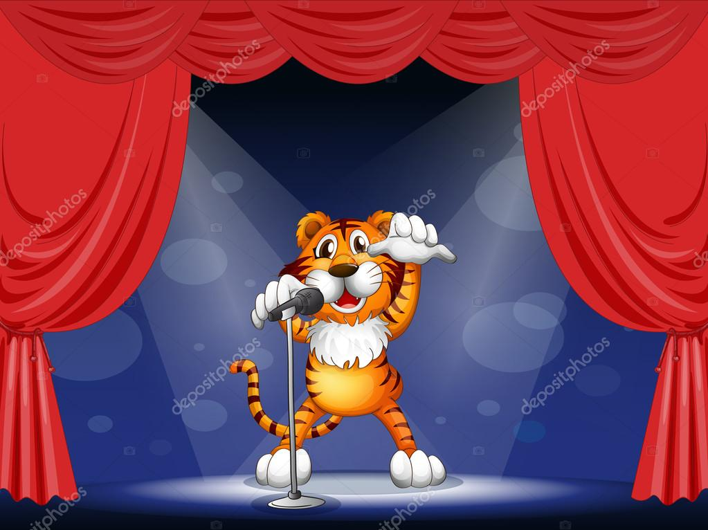 Illustration of a tiger at the center of the stage  Stock Vector #20034541