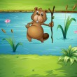 A beaver with a wood in the river — Stock Vector #20059581