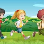 Kids running across the hills — Stock Vector #20059609