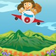 Kids and an airplane — Stock Vector