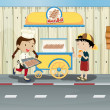 Kids and a meat ball street cart — Stock Vector #20060761