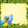 Stock Vector: Colorful parrot and green leafy frame