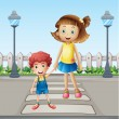 Stock Vector: A little child and a girl crossing the pedestrian