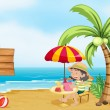 A girl reading at the beach — Stock Vector #20060837
