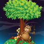 A beaver under a big tree — Stock Vector