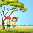 A girl and a boy near a big tree - Stock Vector