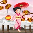 A japanese girl in an autumn view — Stock Vector
