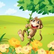 A monkey playing with the vine plant - Stock Vector