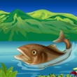 A big fish in the sea — Stock Vector
