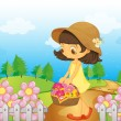 A girl collecting flowers - Stock Vector