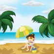 A girl in the beach - Stock Vector