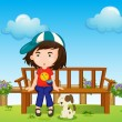 A girl and her pet at the park — Imagens vectoriais em stock