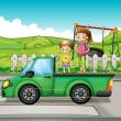 Royalty-Free Stock Vector Image: Smiling kids and a truck