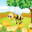 A bee in a fenced garden — Stock Vector