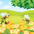 Stock Vector: Bees looking for foods