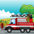 Stock Vector: Fire engine