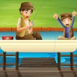 Kids catching fish — Stock Vector