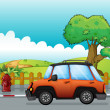Royalty-Free Stock Vector Image: Orange car on a road and fire hydrant