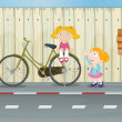 Kids, a bicycle, a fire hydrant and a notice board — Vector de stock