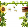 Bees in the garden with a mailbox — Stock Vector