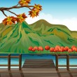 Stock Vector: Seaport overlooking mountains