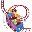 Stock Vector: Brave kids riding in a roller coaster ride