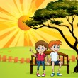 Kids sitting on a bench — Vector de stock