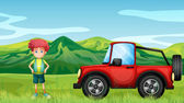 A red jeepney and a boy in the hills — Stock Vector