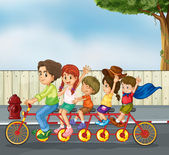 Kids on the bicycle — Stock Vector