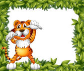 A tiger and plant frame — Stock Vector