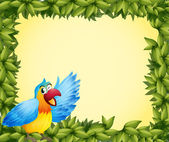 A colorful parrot and the green leafy frame — Stock Vector