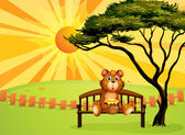 A bear with a pot of honey sitting at the bench — Stock Vector