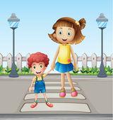 Küçük bir çocuk ve bir kız yaya geçiş — Stok Vektör