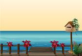 The wooden bridge — Stock Vector