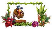 A turkey above a trunk in the garden — Stock Vector