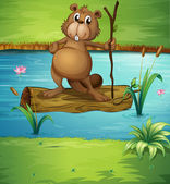 A beaver holding a wood in the river — Stock Vector