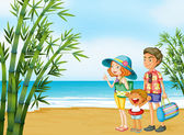 A happy family at the beach — Stock Vector